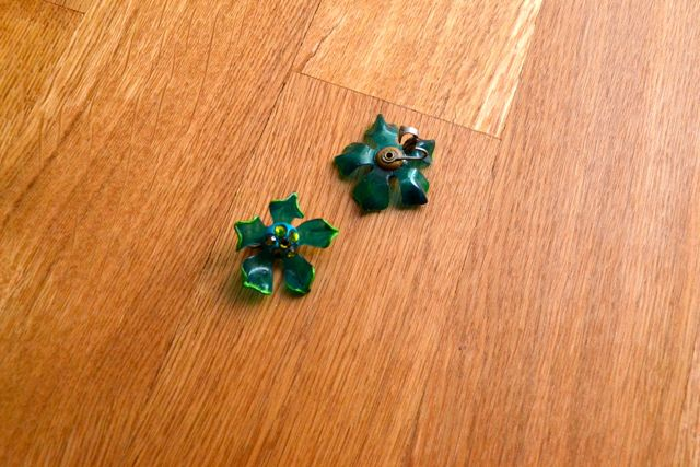 Day 97_London green flower clip-ons_still-life