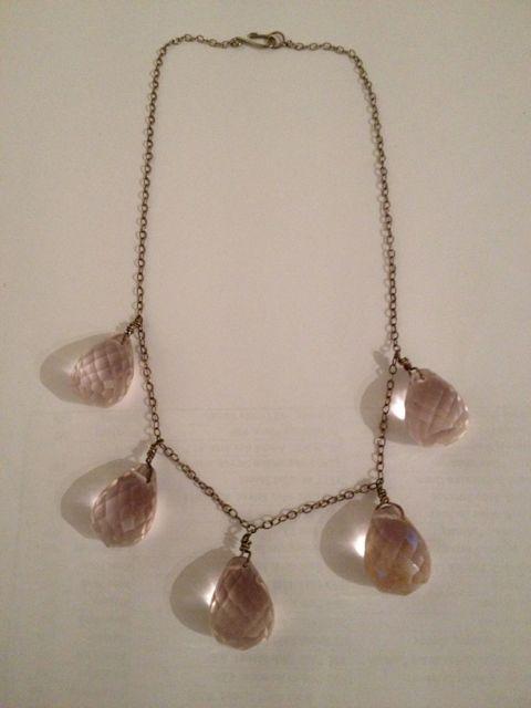 Day 107_pink quartz teardrop necklace