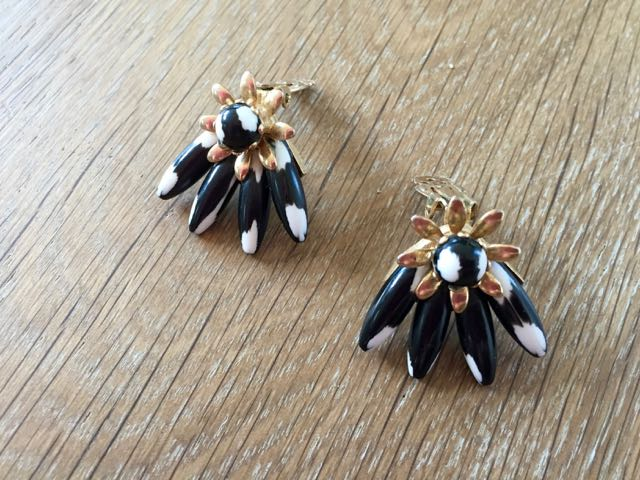 American vintage navy and white earrings